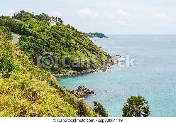 Blue sea with blue sky and white cloud, Phuket thailand - csp30864119