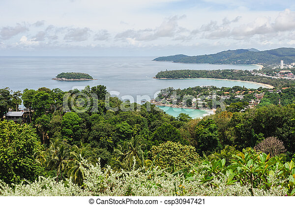 Blue sea with blue sky and white cloud, Phuket thailand - csp30947421
