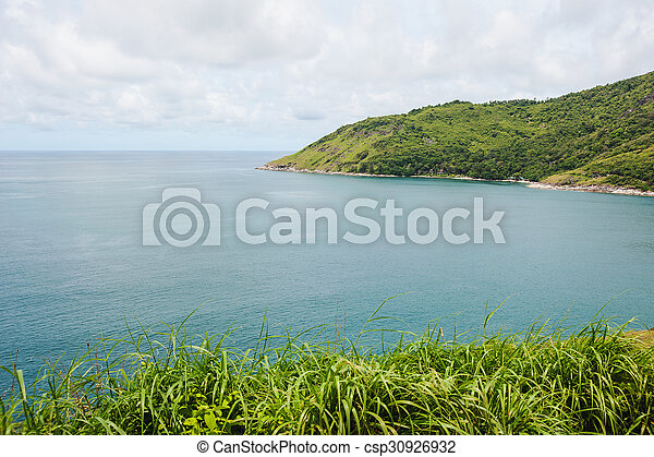 Blue sea with blue sky and white cloud - csp30926932
