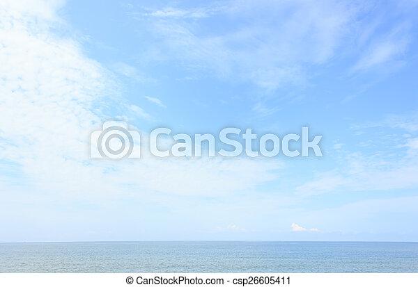 Blue sea with blue sky - csp26605411