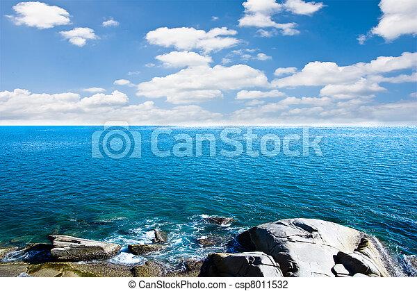 Blue sea with blue sky  - csp8011532
