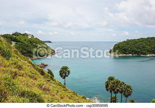 Blue sea with white cloud and island, Phuket thailand - csp30959095