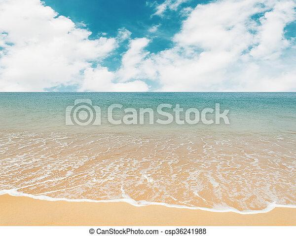 Blue sea with white sand beach - csp36241988