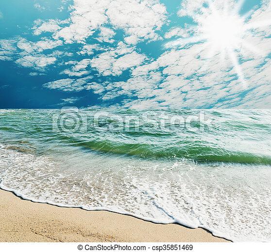 Blue sea with white sand beach - csp35851469