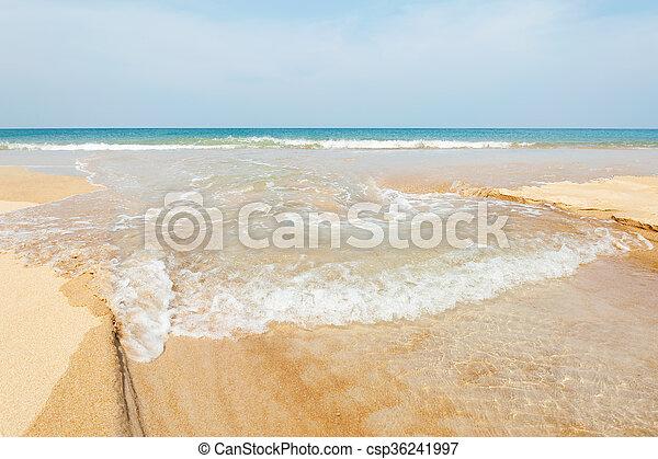 Blue sea with white sand beach - csp36241997