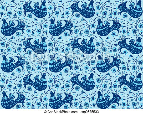 Blue seamless background with birds - csp9575533