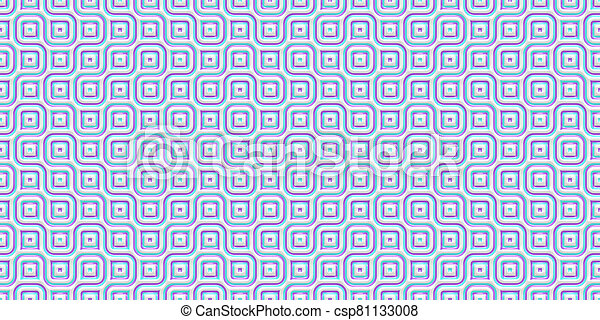 Blue Seamless Truchet Tilling Background. Geometric Mosaic Connections Texture. Tile Circles Labyrinth Backdrop. - csp81133008