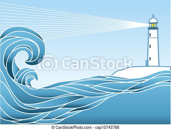Blue seascape horizon. Vector illustration with lighthous - csp10743768