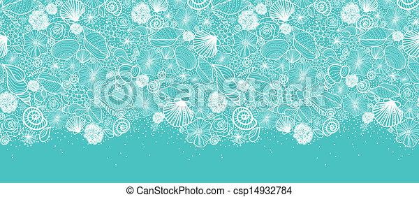Blue seashells line art horizontal seamless pattern border - csp14932784