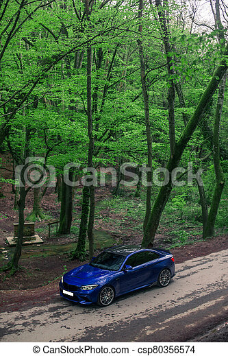 Blue sedan driving on the central road, across forest - csp80356574