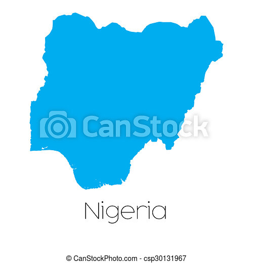 Blue shape with name of the country of Nigeria - csp30131967