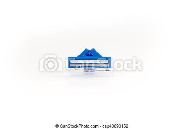 Blue shaving razor on a white background - csp40690152