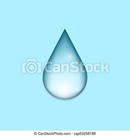 Blue shiny water drop icon on blue background. Vector illustration - csp53258188
