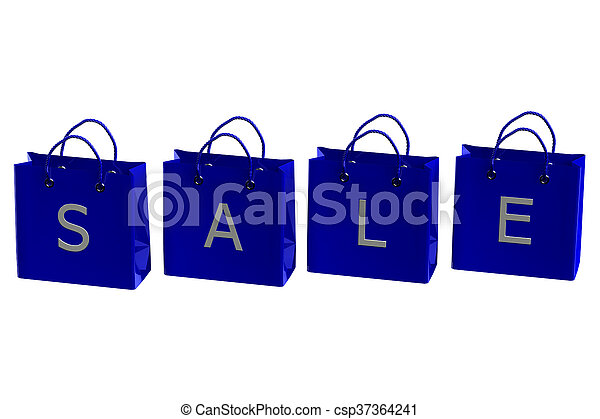 Blue shopping bags with word sale. 3D rendering. - csp37364241