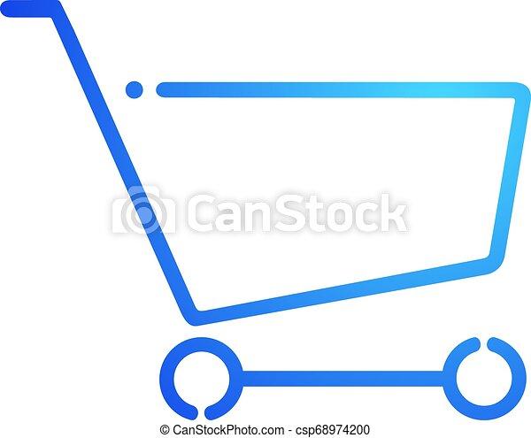 blue shopping cart flat icon - csp68974200