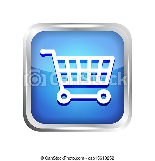 blue shopping cart icon - csp15610252