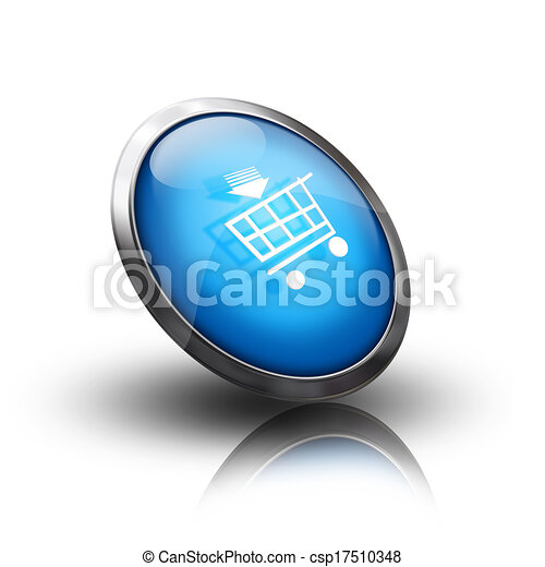 blue shopping cart icon - csp17510348