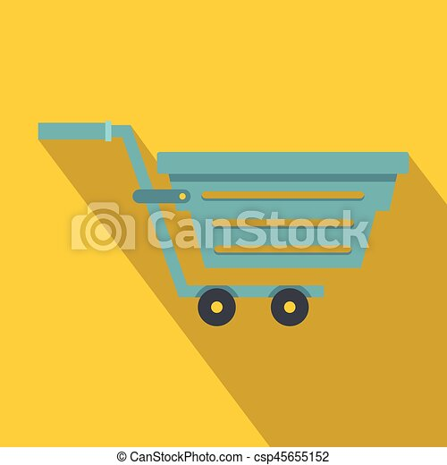 Blue shopping cart icon, flat style - csp45655152