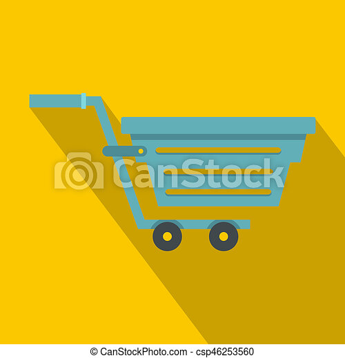 Blue shopping cart icon, flat style - csp46253560