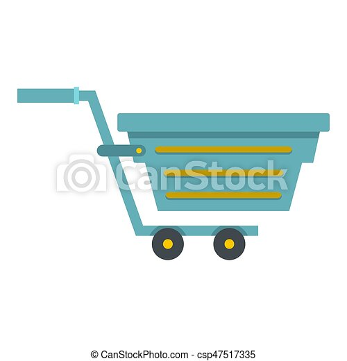 Blue shopping cart icon isolated - csp47517335