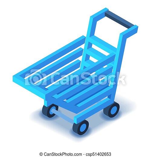 Blue shopping cart icon, isometric style - csp51402653