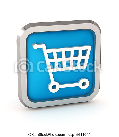 Blue shopping cart icon on a white background - csp15611044