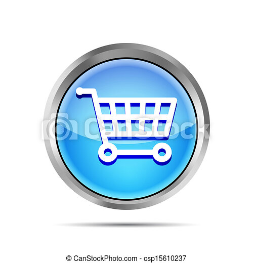 blue shopping cart icon on a white background - csp15610237
