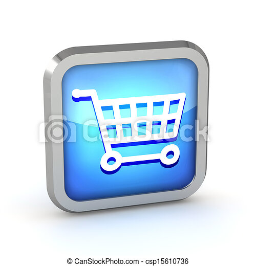 blue shopping cart icon on a white background - csp15610736