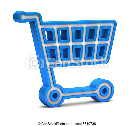 Blue shopping cart icon on a white background - csp15610738