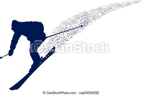 Blue silhouette of a mountain-skier - csp54304292