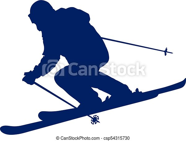 Blue silhouette of a mountain-skier - csp54315730