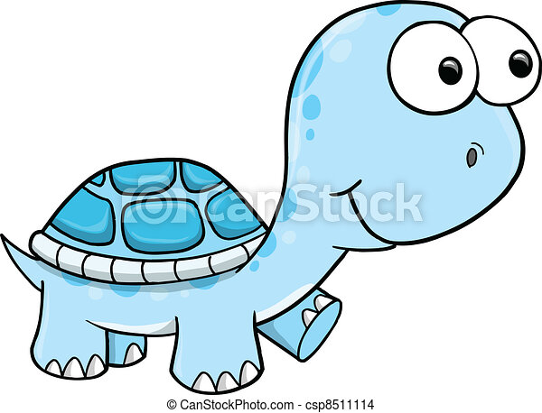Blue Silly Turtle Vector - csp8511114