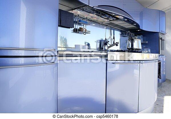 Blue silver kitchen modern architecture decoration - csp5460178