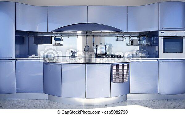 Blue silver kitchen modern architecture decoration - csp5082730