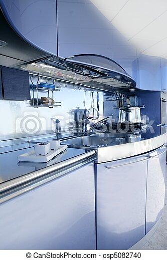 Blue silver kitchen modern architecture decoration - csp5082740