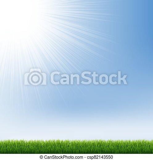 Blue Sky And Green Grass Border - csp82143550