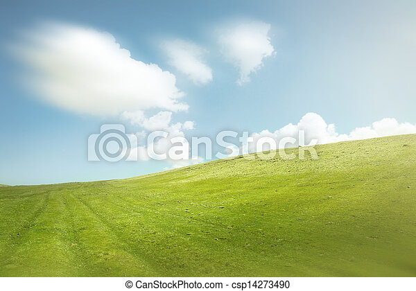Blue Sky and Green Hills - csp14273490
