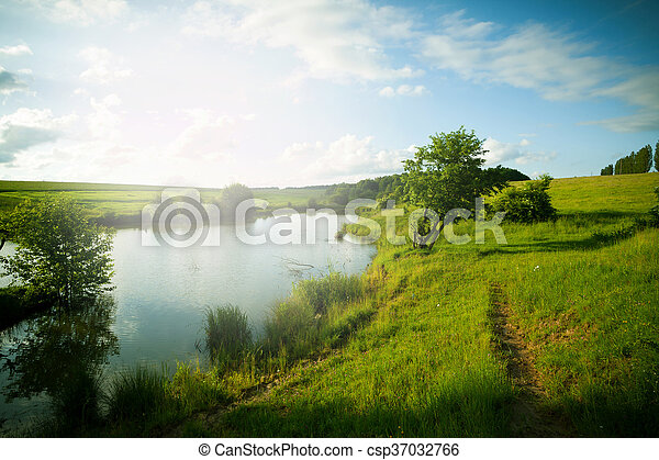 blue sky and river - csp37032766