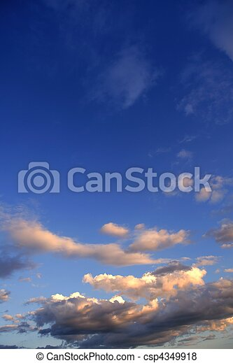 Blue sky background with clouds - csp4349918