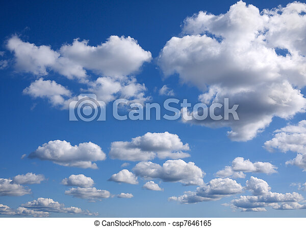 blue sky background with tiny clouds  - csp7646165
