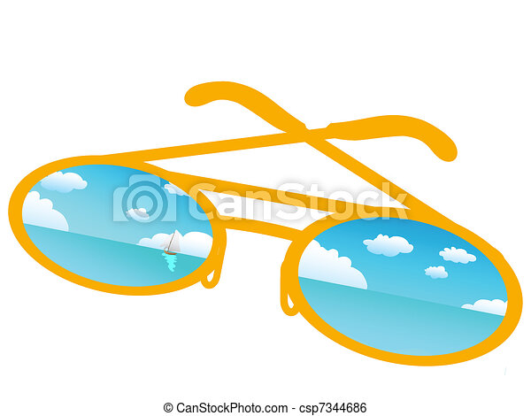 Blue sky reflecting in sunglasses  - csp7344686