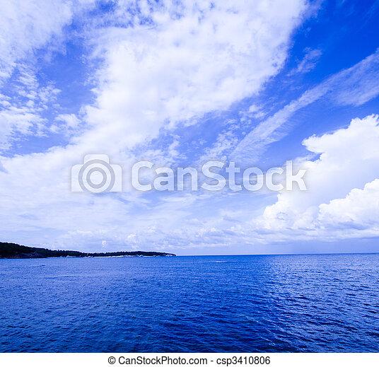 Blue sky, sea and landscape - csp3410806