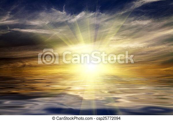 Blue sky, sun and sea - csp25772094