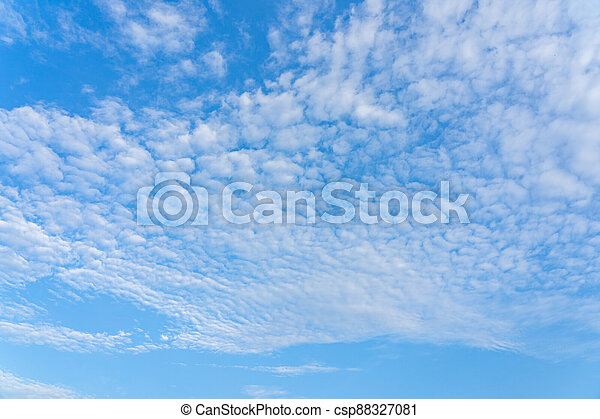 Blue sky with beautiful cotton like cirrocumulus cloud - csp88327081
