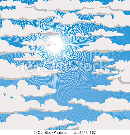 Blue sky with clouds and sun - csp15434167