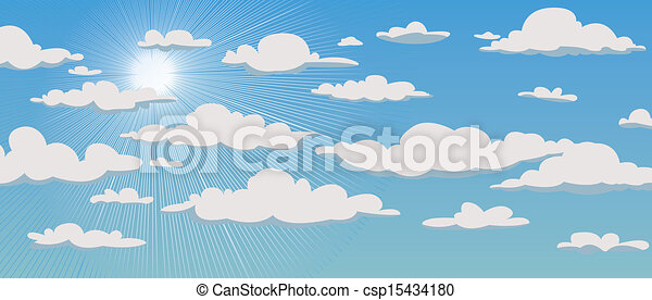Blue sky with clouds and sun - csp15434180