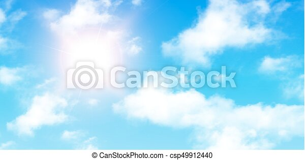 Blue sky with clouds and sun - csp49912440