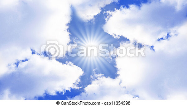 Blue sky with clouds and sun - csp11354398