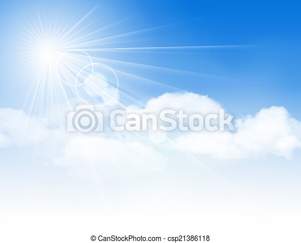 Blue sky with clouds and sun. - csp21386118
