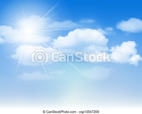 Blue sky with clouds and sun. - csp13547209